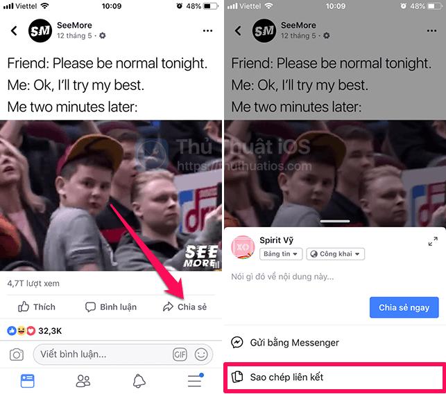 sao chep lien ket video facebook