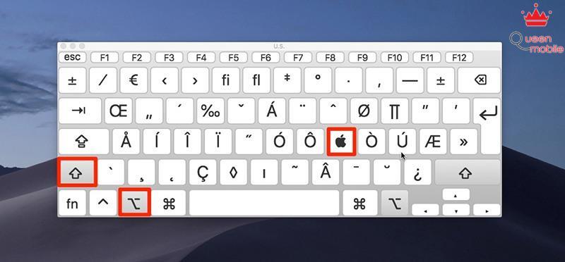 macOS Mojave keyboard viewer apple logo symbol